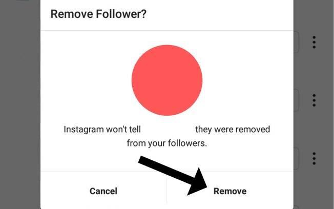 Como remover seguidores do Instagram #3: por fim, clique em remover na janela que será aberta depois do segundo passo