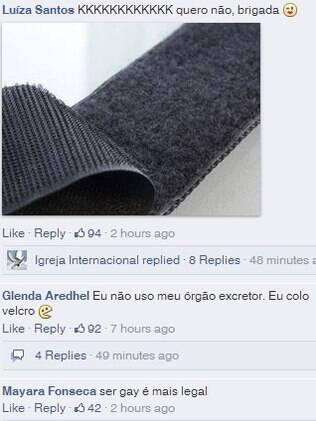 Comentários deixados no perfil do Facebook