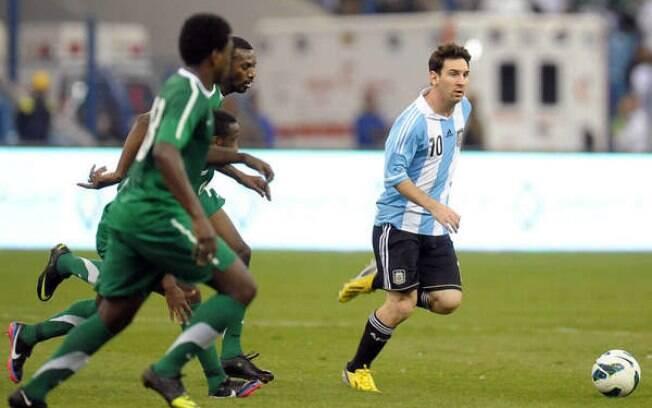 Messi em ação contra a Arábia Saudita: 0 a 0