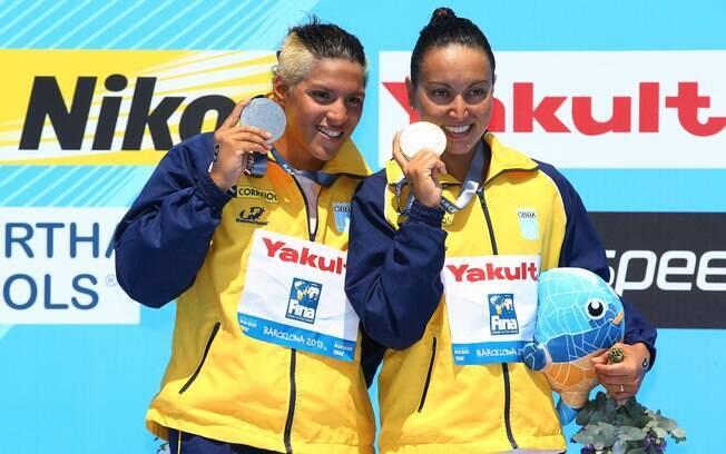 Poliana Okimoto fez dobradinha com Ana  Marcela com ouro e prata nos 10 km no Mundial