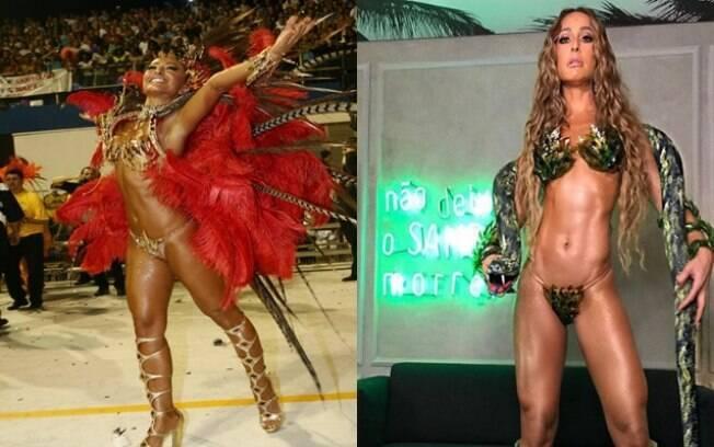 Esquerda: Sabrina Sato no desfile da Gaviões da Fiel em 2008. Direita: foto publicada recentemente em seu Instagram