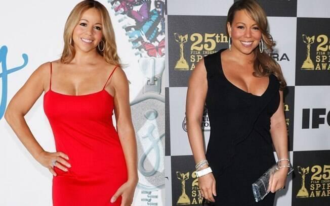 Mariah Carey mais magra, em novembro de 2011, e em sua fase mais rechonchuda, em maio de 2011, um mês após dar à luz