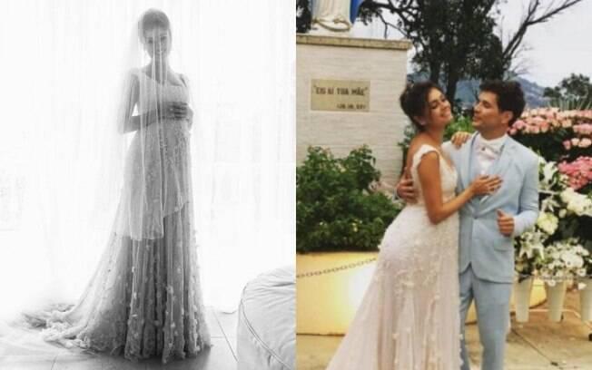 A atriz Sophie Charlotte também fez um casamento de dia e apostou em um vestido com três camadas de tule e renda