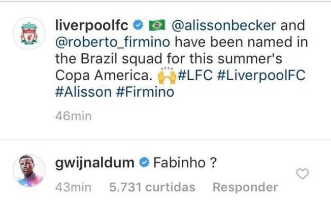 Wijnaldum questiona ausência de Fabinho na convocação da Seleção Brasileira.
