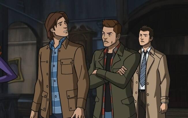 Dean Winchester, Castiel e Sam Winchester no crossover entre