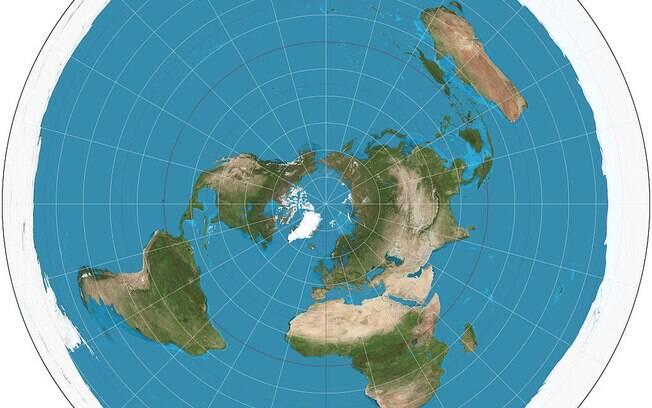 Projeção azimutal do globo terrestre, usado como modelo de mapa da Terra Plana.