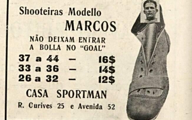 Propaganda de chuteiras que está exposta na mostra virtual do Museu do Futebol