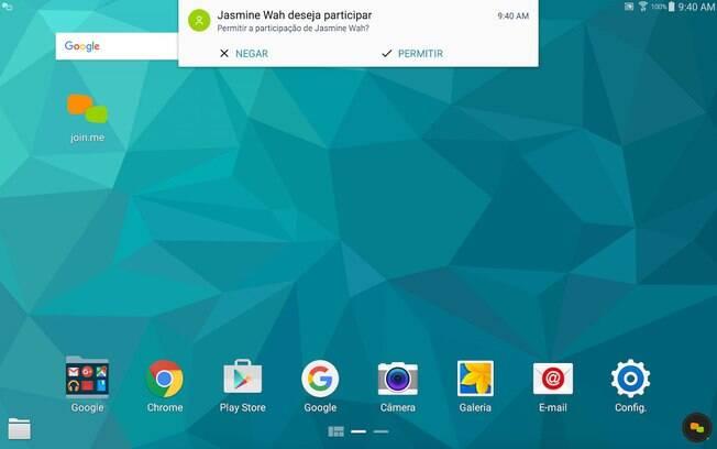 Ao inserir o código da reunião, outros usuários podem visualizar a tela do seu smartphone