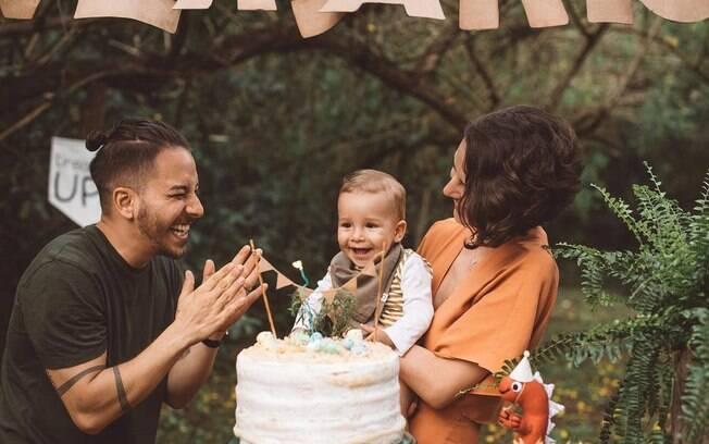 Junior Lima com a esposa, Monica Benini e o filho, Otto