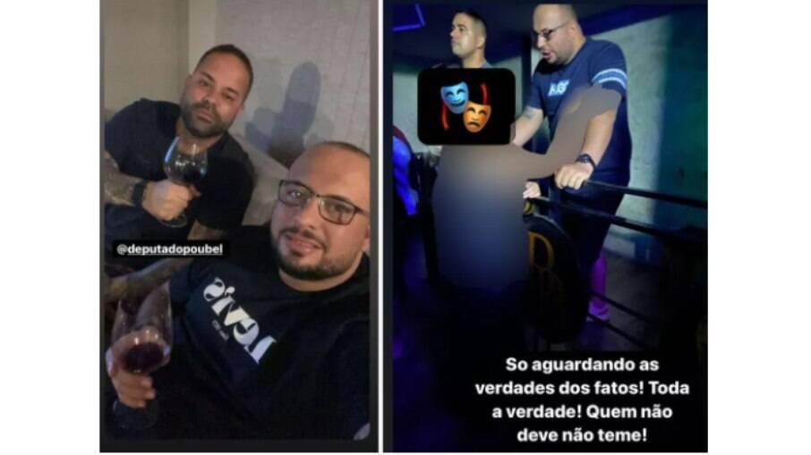 Filipe Poubel (E) brinda com Capitão Diogo; na foto da direita, o PM escreveu: 'Quem não deve não teme'