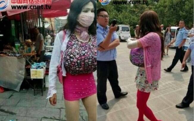 Chinês, de sobrenome Zhang, usava minissaia, salto alto, maquiagem e seios falsos como disfarce