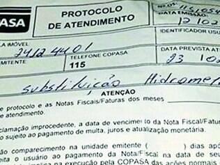 Protocolo. Cassiano Rodrigues postou imagem da ordem de serviço da Copasa, que não teria sido feito