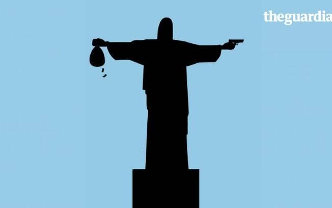 Igreja Católica ficou incomodada com imagem do Cristo Redentor empunhando arma e saco de dinheiro