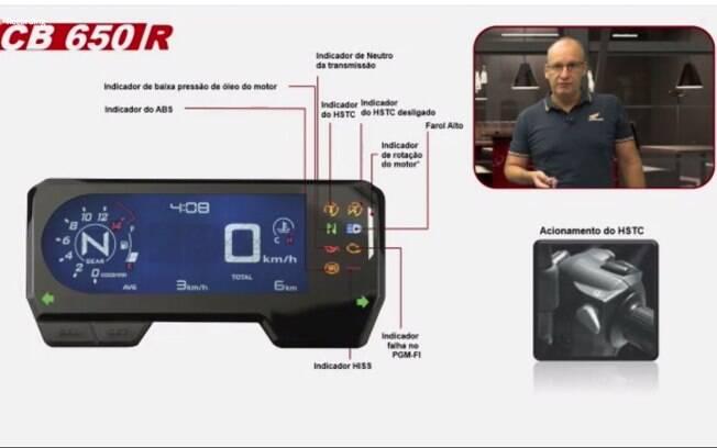 Detalhe explicativo do painel de instrumentos das Honda 650