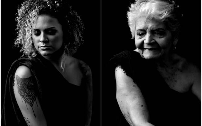 Dona Zeza e a neta Renata, 35 anos, foram fotografadas por Jaiel Prado no mesmo ensaio sensual com as mesmas poses