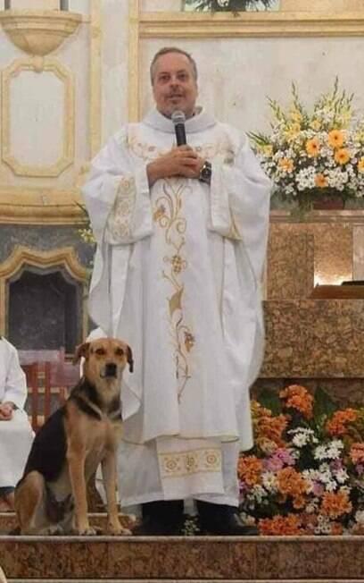 Cão na paróquia com Padre João Paulo