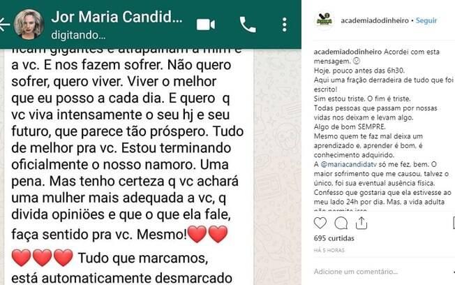 Maria Cândida terminou a relação por WhatsApp e ex-namorado a expôs na internet
