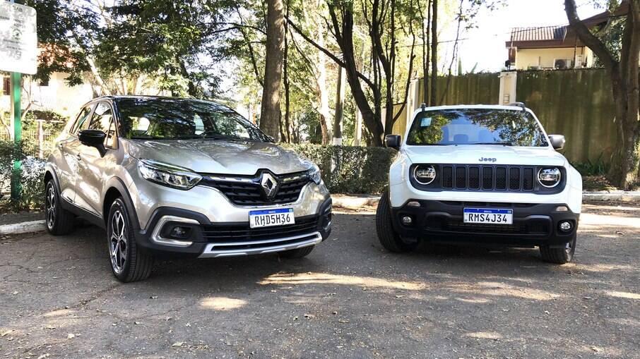 Renault Captur e Jeep Renegade: o primeiro tem motor 1.3 turbo, mais moderno que o 1.8 do rival, que mudará em 2022