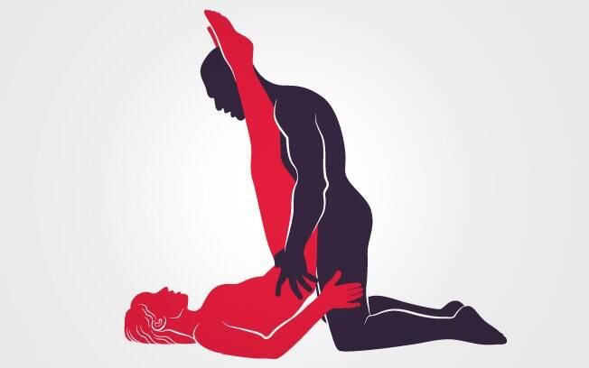 Homem também pode ficar inclinado para trás, quase sentado nas pernas, para que a perna da mulher fique nos ombros