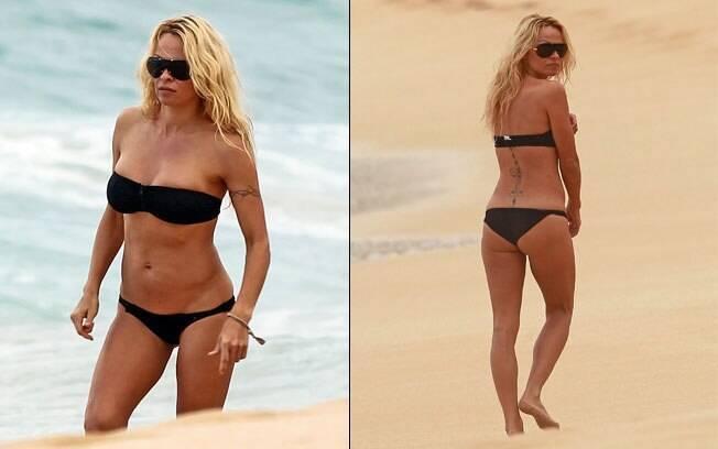 Aos 44 anos, Pamela Anderson exibiu boa forma no Havaí