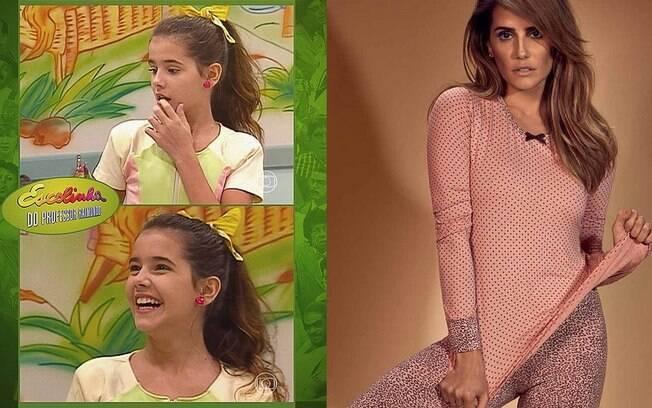 Deborah Secco em foto da infância e em foto atual