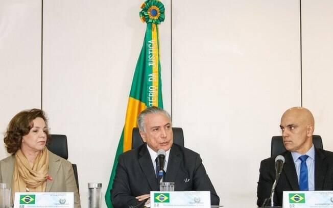 Michel Temer discursa durante encontro com secretários de Segurança do País, nesta terça-feira