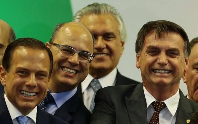 Presidente Jair Bolsonaro e os governadores do Rio, Wilson Witzel, e de São Paulo, João Doria