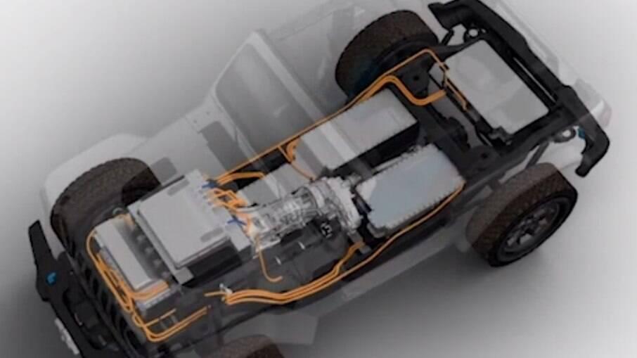 Jeep detalhou o arranjo mecânico do Wrangler elétrico, que terá força suficiente para manter a tradição em encarar trilhas