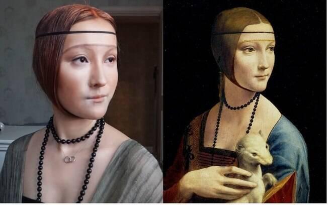 Dama com arminho foi a segunda pintura escolhida pela artista para a série de maquiagens inspiradas em Da Vinci