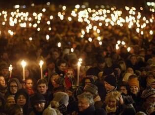 Protesto contra terrorismo levou milhares às ruas de Copenhague, na Dinamarca