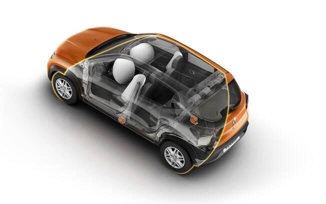 Entre os novos itens de segurança que foram incluídos no Kwid nacional estão os airbags laterais