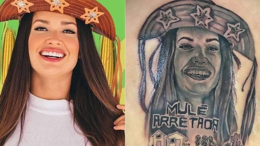 A foto que serviu de inspiração e a arte feita pela tatuadora nas costas do fã