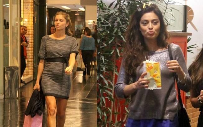 Na esquerda, Grazi Massafera mostra a barriguinha de grávida. Na direita, Juliana Paes compra pipoca antes de entrar no cinema