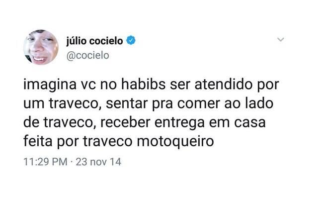 Post apagado por Júlio Cocielo no Twitter