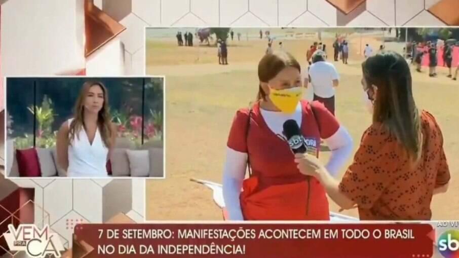 Manifestante protesta contra governo no 'Vem Pra Cá', do SBT