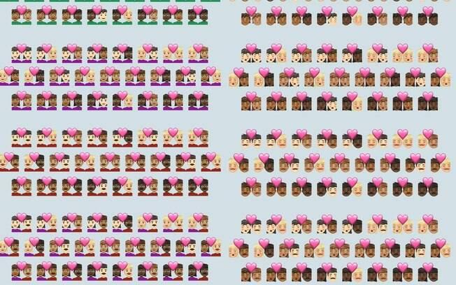 Novos emojis darão mais possibilidades de combinações entre casais