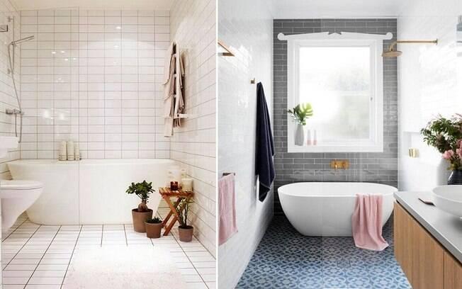 Tomar um banho de banheira é algo bastante relaxante, então ter uma no banheiro pode ajudar a dar o clima de spa