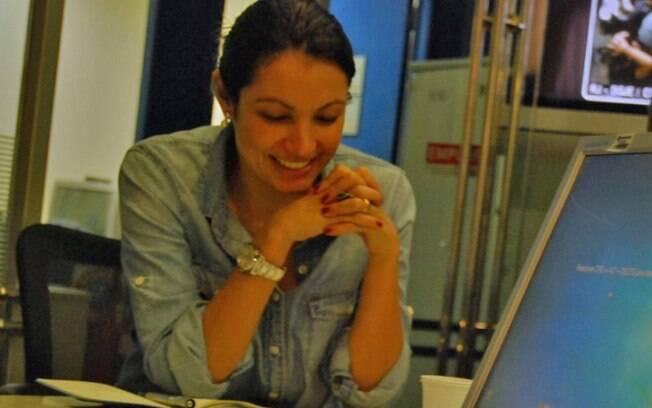Patrícia Poeta em sua primeira reunião de pauta no