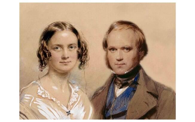 Charles Darwin, pai da teoria da evolução, foi casado com sua prima  Emma Wedgwood em 1839. O casal teve 10 filhos. Foto: Retratos de George Richmond