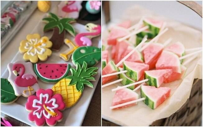 Para pensar as comidinhas da festa tropical, é interessante montar um cardápio com alimentos naturais e refrescantes