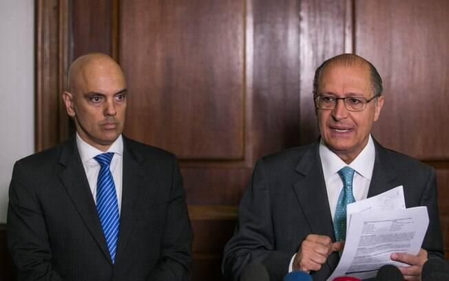 O novo secretário de Segurança, Alexandre de Moraes, ao lado do governador do Estado
