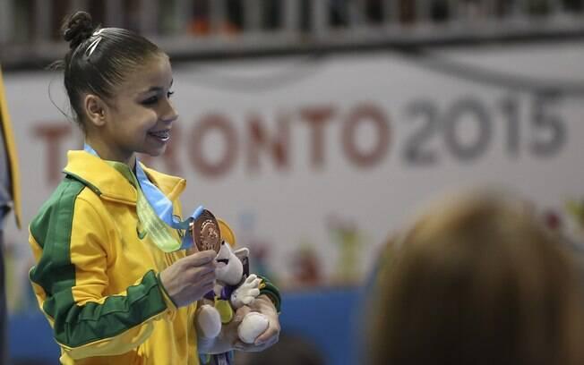 Flavia Saraiva, a caçula da ginástica artística em Toronto, ganha o bronze no individual geral . Foto: Washington Alves/Exemplus/COB