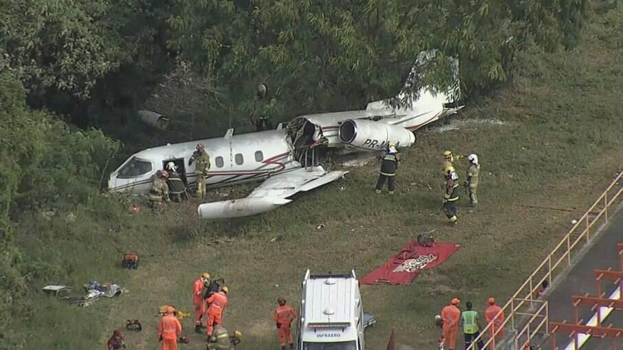 Aeronave sofreu um acidente no início da tarde desta terça-feira (20)
