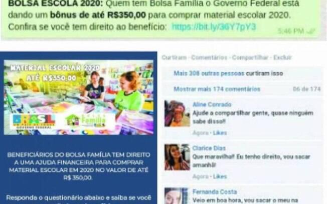 Golpe promete R$ 350 para beneficiários do Bolsa Família