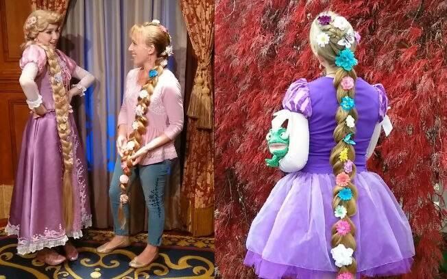 Andrea conhecendo a Rapunzel em uma viagem para a Disney (esq.) e, em outra foto (dir.), vestida como a personagem