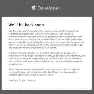 Site da Apple para desenvolvedores sai do ar por tentativa de invasão por hackers