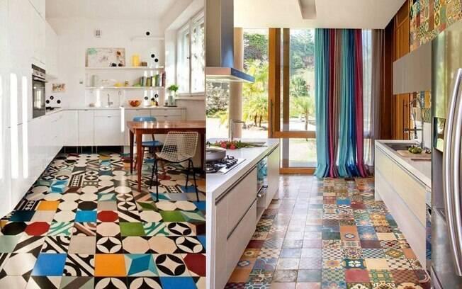 Piso em ladrilho hidráulico super colorido traz alegria e aconchego para cozinha que tem os demais elementos bem neutros