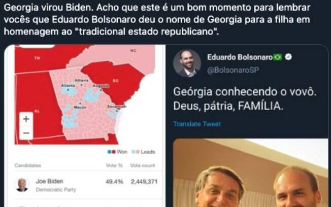 O deputado Eduardo Bolsonaro virou meme nas redes sociais após a virada de Biden na Geórgia
