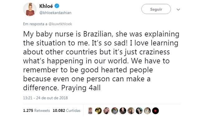 Khloe Kardashian fala sobre eleições no Brasil e se mostra preocupada com a situação politica dos brasileiros  ao responder seus seguidores no Twitter