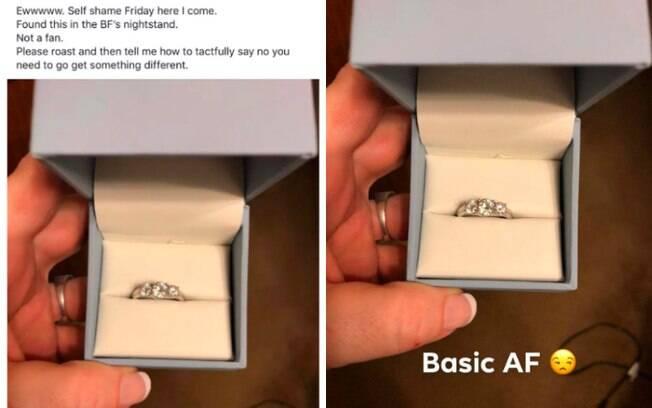 Ao encontrar anel de noivado, a mulher publicou em um grupo para reclamar sobre como achou que a jóia é 'básica demais'
